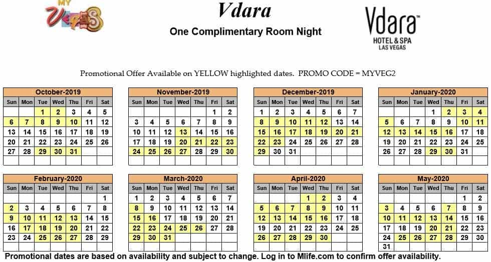 Image of Vdara Hotel & Spa Las Vegas one complimentary room night myVEGAS Slots calendar.