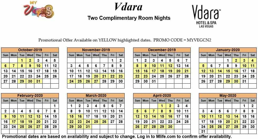 Image of Vdara Hotel & Spa Las Vegas two complimentary room nights myVEGAS Slots calendar.